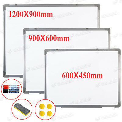 NEW MAGNETIC DRY WIPE WHITE NOTICE BOARD+FREE ACCESSORIES 1200x900 OR 900x600 MM