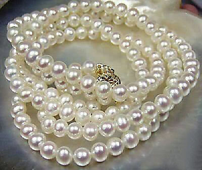 """Long 25"""" 36"""" 50"""" 65"""" 80"""" 100"""" 7-8mm Natural White Akoya Cultured Pearl Necklace"""