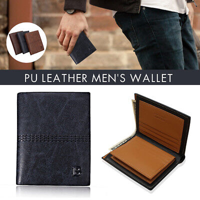 Mens Luxury Soft Quality Business Leather Bifold Wallet Credit Card Holder Purse