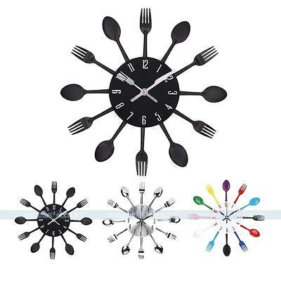 Modern Creative Retro Cutlery Wall Clock Fork  Spoon Kitchen Decoration New