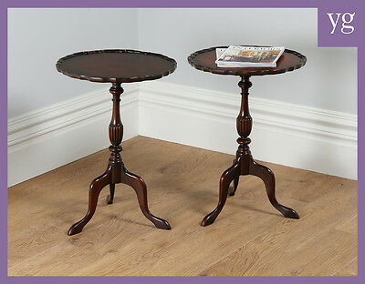 Pair 2 Georgian Style Mahogany Pie Crust Top Tripod Side Wine Lamp Tables Stands