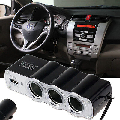 USB Port 3 Way Car Cigarette Lighter 12/24V Socket Splitter Charger Adapter