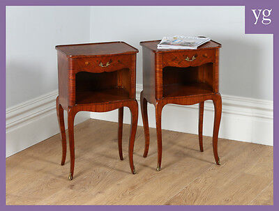 Antique Pair French Louis Kingwood Bedsides Night Stands Tables Cabinets Chests