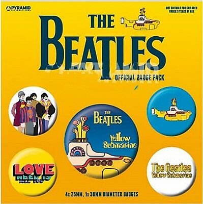 The Beatles (Yellow Submarine) pack of 5 round pin badges    (py)