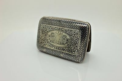 Antique Original Perfect Silver Niello Armenian Ottoman Cigarette Case