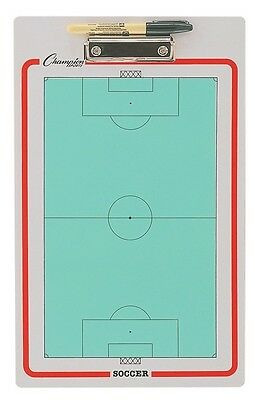 "NEW Champion Dry Erase 2 Sided Soccer Coaches Play Board & Marker 11""x16"" CBSB"