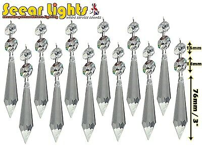 12 Xl Chandelier Parts Drops Glass Crystals Droplets Icicles Antique Look Prisms