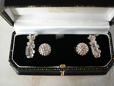 Quality Pair Of Sterling Silver Golf Cufflinks  Brand New In Box