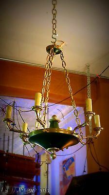 Charming Empire Tole And Brass Chandelier . 6 Arms / Snakes !!!