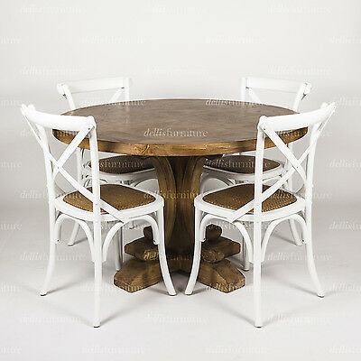 DEAL 120cm Ronde Parquetry Elm Timber Style Pedestal Round Table + 4 Chairs