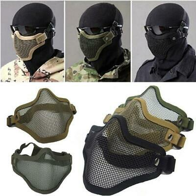Airsoft Steel Wire Mesh Half Face Mask Tactical Paintball Hunting Protection NEW