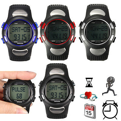 3D Pulse Heart Rate Monitor Calorie Counter Fitness Sport Wrist Watch Pedometer