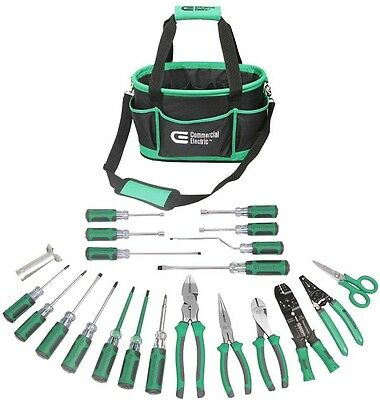 22-Piece Electrician's Tool Set Commercial Electric Pliers Screwdriver Wire Kit
