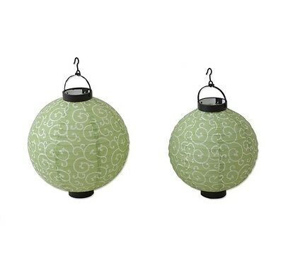 Japanese Paper Lantern S and L set LED Green Lampshade Chochin Party Decor