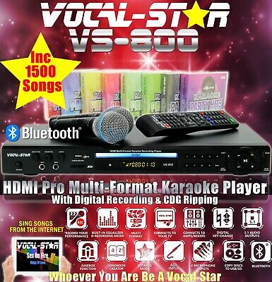 Vocal-Star Vs-1200 Cdg Dvd Bluetooth Karaoke Machine Player 2 Mics & 300 Songs