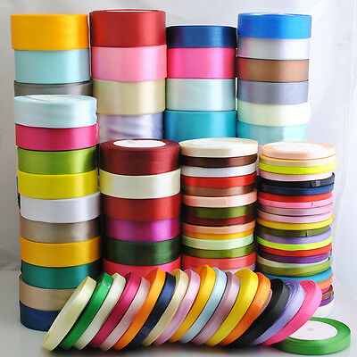 "25Yards/1roll Mix Color/Size Satin Ribbon From 1/4"" to 2"" Craft Wedding Deco"