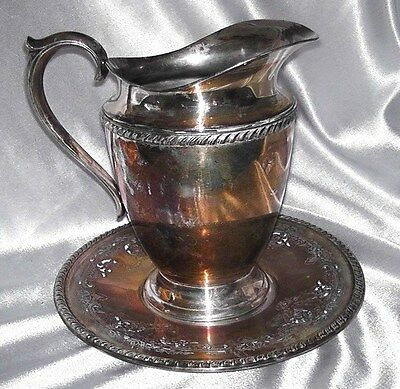 """Antique Wallace Melford C6539 Silverplate 10"""" Tray & Kenton Rogers Pitcher 8.5"""""""