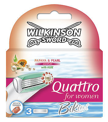 Wilkinson Sword Quattro For Women Bikini Blades - 3 Pack