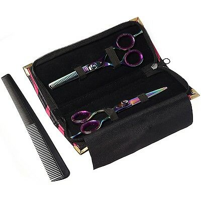 Titanium Hair Cutting AND Hair Thinning Scissors Set,5.5 inch With Case And Comb