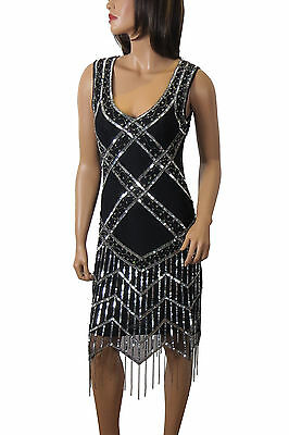 1920's Gatsby Flapper Sliver Deco Frindge hem Embellished Dress 8 to  PLUS SIZES