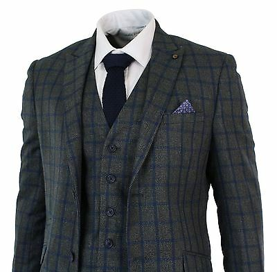 Mens Check Vintage Herringbone Tweed Charcoal Blue 3 Piece Suit Tailored Fit