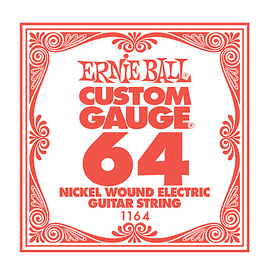 Ernie Ball Nickel Wound Single Electric Guitar String .064 Gauge PO1164