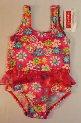 NEW Baby Girls Swimsuit 24 Mos Pink Floral Bathing Suit Tutu Flowers One Piece