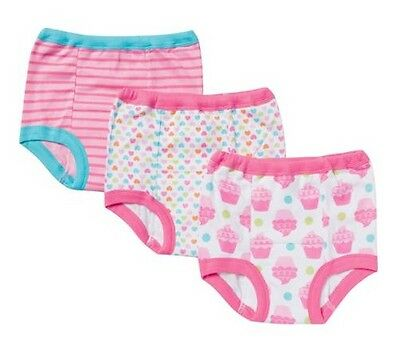 Gerber Toddler Girl 3-Pack Training Pants; Pink w/ Cupcakes, Hearts & Stripes 2T