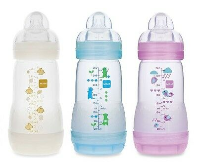 MAM 9 oz Anti-colic Baby Bottle; Choice of Blue, Yellow or Pink BABY SHOWER GIFT