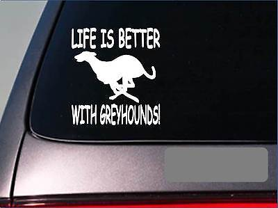 Life is better with greyhounds *F415* sticker decal dog racing rescue muzzle