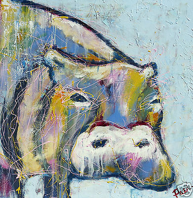 ART  PRINT hippo PAINTING CANVAS STREET 100CM X 100CM LIMITED EDITION SIGNED