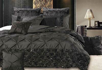 Samania Black Sequins Quilt Cover Diamond Pintuck Doona Cover Set / Pillowcover