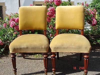 Beautiful Pair of Mahogany Framed Upholstered Antique Victorian Library Chairs
