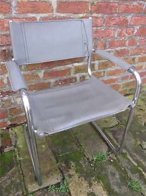 Retro Vintage 1960's Tubular Steel & Leather Armchair. Mies Van Der Rohe Style.