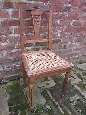 Edwardian c1905 Arts & Crafts Hall Chair. Light Oak with Bergere Seat. Carved.