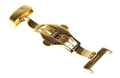 Gold Stainless Steel Push Button Butterfly Deployment Clasp Buckle Watch Strap