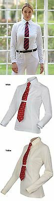 Shires Ladies Long Sleeved Tie Shirt White Large