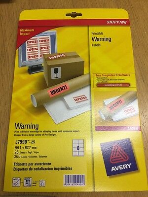 Avery Printable Warning Labels Laser X200 Labels L7990 - Software/Templates Inc.