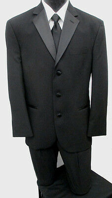 Black Perry Ellis 3 Button Notch Lapel Tuxedo Package Wedding Prom Formal 44R