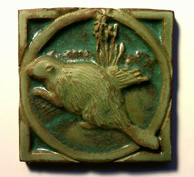 """Peace Valley Tile, Arts And Crafts Style, Beaver Image 4"""" X 4"""""""