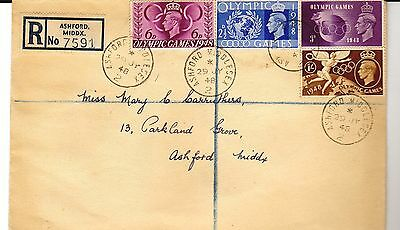 GB 1948 Geo VI OLYMPIC GAMES Stamps First Day Cover ASHFORD Middlesex PMK Re:957