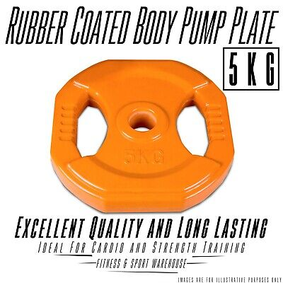 NEW Pair of 5KG Rubber Coated Body Pump Plate Fitness Gym Exercise Equipment
