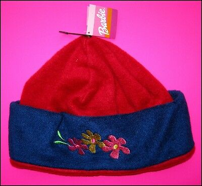 NWT Licensed Barbie Beanie Hat Red Blue Embroidered Flowers FREE POST