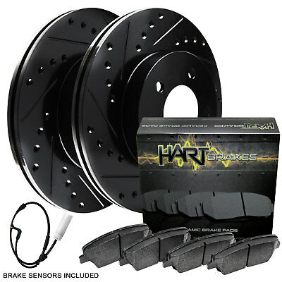 2008-2013 135i Front Black Hart Drilled Slotted Brake Rotors and Ceramic Pads