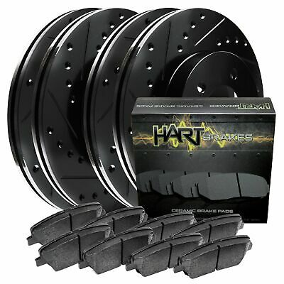 Full Kit Black Hart Drilled Slotted Brake Rotors and Ceramic Pads Eclipse,Galant