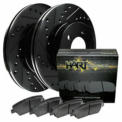 2011-2014 Jetta Rear Black Hart Drilled Slotted Brake Rotors and Ceramic Pads