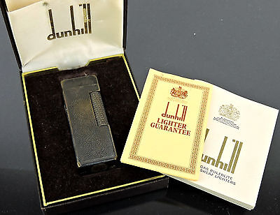 VINTAGE AUTHENTIC DUNHILL SILVER TONE LIGHTER SWISS MADE w/CASE GUARANTEE