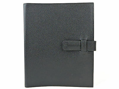 """AUTHENTIC HERMES BLACK LEATHER LARGE 7.5"""" x 9"""" AGENDA NOTE COVER MADE IN FRANCE"""
