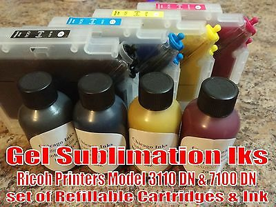 Gel Sublimation Ink & Refillable Cartridges Set Ricoh Printers 3110 DN & 7100 DN