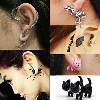 1x Punk Gothic Vintage Snake Cat Dragon Cuff Wrap Clip Ear Stud Earrings